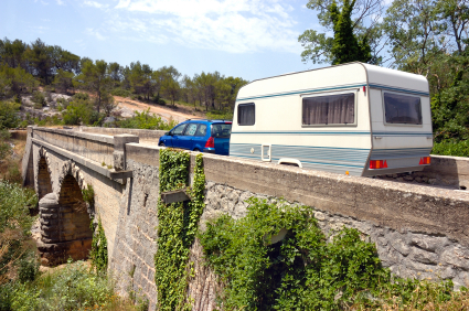 Touring caravan crossing bridge