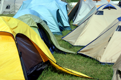 Cramped tents at a festival